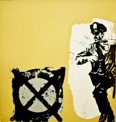 """X Marks the Spot Screen Print and Lino 22 X 22"""" 2011"""